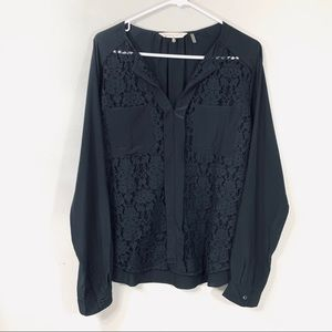 Rebecca Taylor Black Lace Front Long Sleeve Blouse
